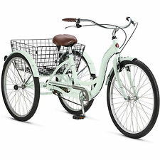 "Adult Tricycle Trike Cruise 1 Speed Mint Green 3 Wheeled 26"" Bike With Basket"