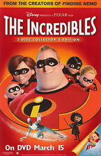 THE INCREDIBLES (2004) ORIGINAL DVD MOVIE POSTER  -  ROLLED
