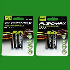 4x Aa Recargable Nimh Baterías, HR6, 1.2V, 800mAh, NI-MH, Pre Cargadas