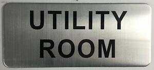 UTILITY ROOM SIGN (BRUSH ALUMINIUM, 3.5X8 )-The Mont argent line.