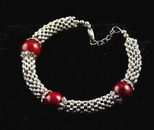 Pretty Red Coral Color Shell Pearl Tibetan Silver Stretchy Women Bangle Bracelet
