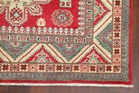 Geometric Super Kazak Area Rug Hand-Knotted Oriental Wool Kitchen Carpet 5x7 RED