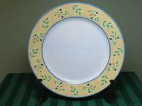 "Sango Dinner Plate Petite Fleur 10.5"" Yellow w/ Blue Rim Blueberries  HG6"