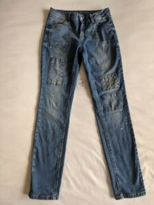 Girls Justice Simply Low Super Skinny Medium Wash Distressed Jeans Size 12
