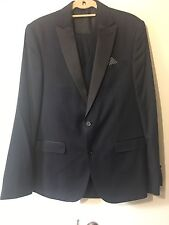 Mens Asos 3 Piece Suit New 42 Blazer & Waistcoat 34 Trousers Navy Pin Stripe