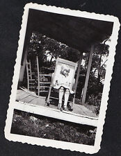 Antique Vintage Photograph Cute Little Girl Sitting in Rocking Chair on Porch