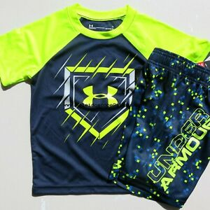 Under Armour Boys Size 4 ~ Summer Shorts & T-Shirts Blue Yellow Brand NEW