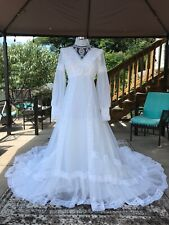 60s Wedding Dress - Bishop Sleeves - Boho - Victorian - Hippie Wedding - Long!