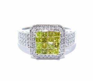 14k White Gold White & Yellow Invi & Prong Set Colored Diamond .75ct Ring