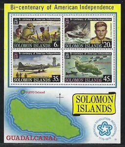 1976 Solomon Islands Scott #336a - American Bicentennial Souvenir Sheet - MNH