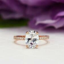 2.25 Ct Oval Big Solitaire Diamond Engagement Ring 14k Rose Gold Finish Jewelry