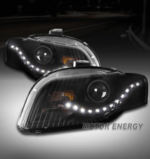 FOR 05-09 AUDI A4 S4 B7/07-08 RS4 DRL LED PROJECTOR HEADLIGHTS BLACK LEFT+RIGHT