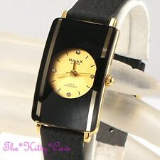 Swiss OMAX Gold Plt Ladies Slim Seiko Movement Mirror Glass Leather Watch CE0005