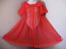 Vintage 60's Miss Elaine Red Sheer Chiffon Peignoir Robe Lace Sz. Medium #1215