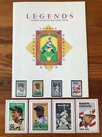 1989 Legends Baseball Scrapbook & Stamp Album Lou Gehrig, Ruth, Clemente /Stamps