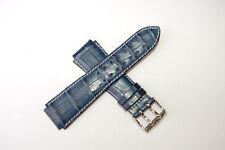 TechnoMarine 7618 Genuine Alligator Leather Watch Strap 20MM Navy Blue Dual Pin