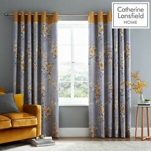 Catherine Lansfield Canterbury Floral Ochre & Grey Fully Lined Eyelet Curtains