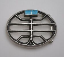 OLD NAVAJO FIGURAL BELT BUCKLE, INLAY TURQUOISE & SANDCAST SILVER, Yei Bi Chei