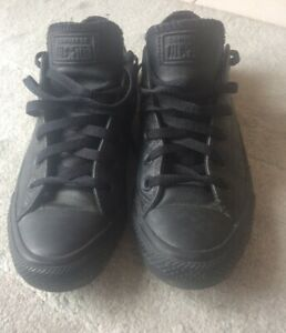 BLACK LEATHER CONVERSE ALL STAR UK 8 GOOD USED CONDITION