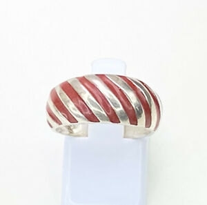 Red Enamel Striped Ring, Size M, Sterling Silver