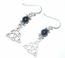 Attractive Black AGATE Gemstone & CELTIC KNOT Sterling Silver Earrings