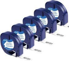 5pk 91331 Dymo Letratag Refill Compatible Dymo Label Maker Tape 12mm Plastic