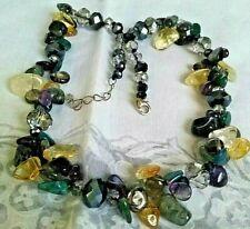 Cluster Necklace - Sterling Silver and natural gemstones