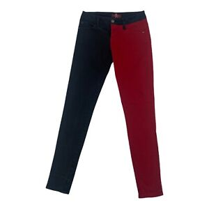 Royal Bones Womens Distressed Black And Red Color Block Stretch Skinny Jeans 1