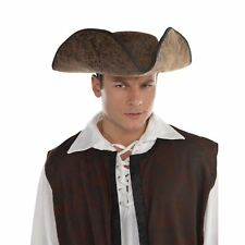 Adults Brown Pirate Captain Jack Hat Brown Black Fancy Dress Costume Accessory