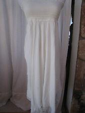 Jennifer Lopez Ivory Silk Chiffon Bust Tube Smocked Strapless Dress Maxi Skirt S