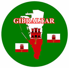 GIBRALTAR  MAP / FLAG - ROUND SOUVENIR FRIDGE MAGNET - NEW - GIFT / XMAS