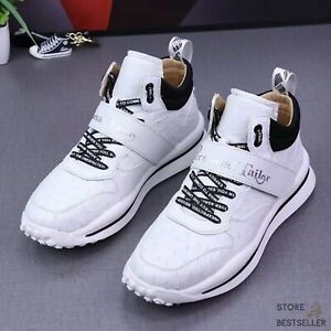 White Shoes Genuine Ostrich Leather Men's Sneakers Size 6 - 11US #3335