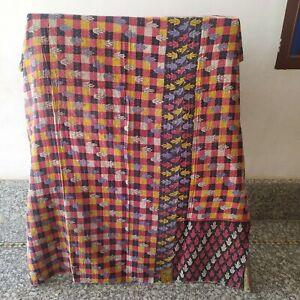 Reversible Kantha Bedding Quilt Indian Bedspread Quilt Coverlet Blanket Throw