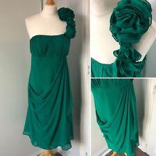 DEBUT Debenhams Green Teal Off Shoulder Dress Occasion Party Floral Prom Size 12