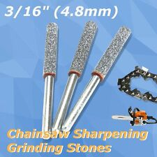 "3pcs Diamond Chainsaw Sharpener Burr Stone File 3/16"" 4.8mm Chain Saw Sharpening"