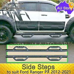 Side Steps Black Steel Double Heavy Duty suits Ford Ranger PX Dual Cab 2012-2021