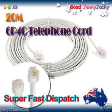20m 6P4C RJ11 RJ12 Telephone ADSL Cross Over Line Cord Cable White Made in AU