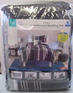 New - Mainstays 6-Piece Coordinated Bedding Set - Twin / Twin XL - Modern Black