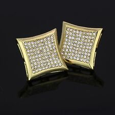 Mens 14k Gold Plated Cz Micro Pave Kite Screw Back Iced Out 9 Row Earrings