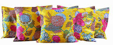 "SET OF 5 INDIAN HANDMADE KANTHA WORK 16X16"" COTTON CUSHION COVER ETHNIC ART"