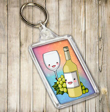 White Wine Bottle & Glass Themed Keyring Birthday Christmas Gift Stocking Filler