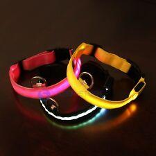 Dog Collar Necklace Adjustable Nylon Pet Dog Collar with LED Light Black Pink