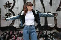 Jeansjacke Lederfransen Jacke chimayo styl jeans jacket 90er True VINTAGE 90s