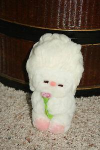 Dakin Vtg HTF 1960's 1962 White Sheep Lamb Holding Flower Toy Plush 03A Tag H1