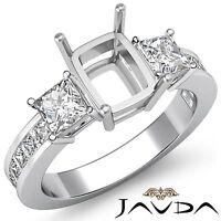 3 Stone Diamond Wedding Ring 14k White Gold Princess Cushion Semi Mount 1.1Ct
