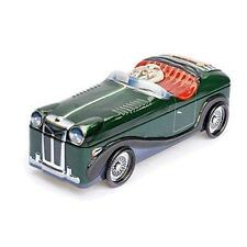 Classic Roadster Green Sports Car Silver Crane Decorative Tin 10 inch Retired