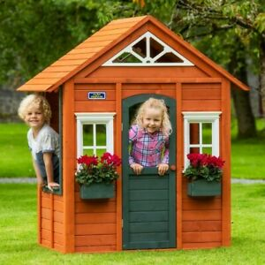 Wooden House Playhouse Playground Childrens Play With Flower Box Outdoor Garden
