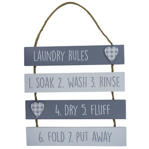 Plaque Laundry Rules Soak Wash Rinse Dry Fluff Grey & White Wooden Wall Sign
