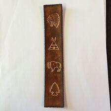 Handmade Leather Bookmark With Indian Chief,teepe,buffalo And Arrow Head