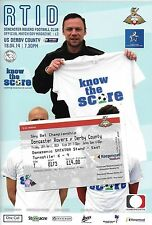 Football Programme plus Match Ticket>DONCASTER ROVERS v DERBY COUNTY Apr 2014